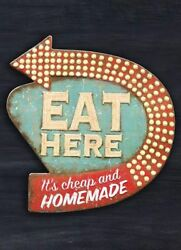 TIN SIGN quot;Eat Herequot; Cafe Kitchen Rustic Mancave Wall Decor Eatery Vintage Gift $7.35
