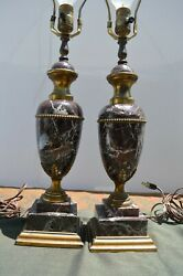 Vintage Pair of Marble and Ormolu Urn covered French lamps antique Marble Lamps $1250.00