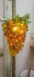 Vintage Lucite yelliw gold Lucite Graoe Lamp Huge 17 In $125.00