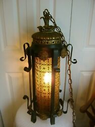 ANTIQUE VICTORIAN GOTHIC LIGHT FOYER SWAG WROUGHT IRON VINTAGE CHANDELIER $233.96