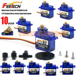 10X Feetech Updated Metal Gear Micro Servo 9G FS90MG for RC Toy Helicopter Drone $56.99