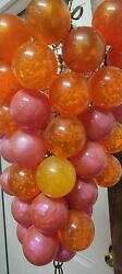 Vintage Lucite Grape Hanging Light PINK ORANGE with bubbles and glitter $75.00