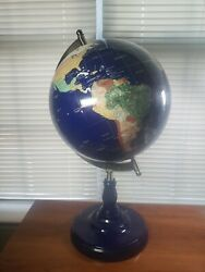 WORLD GLOBE GEMSTONE WITH BLUE METAL BASE 24quot; TALL 40quot; CIRCUMFERENCE $129.00