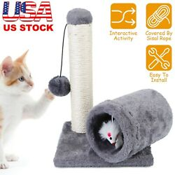 Cat Scratching Post Cat Kitten Sisal Scratch Post Toy w Tunnel amp; Lifelike Mouse $19.17