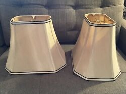 TWO Octagonal Rectangle Soft Gold Silk Table Lamp Shades w Brown Edging $39.95