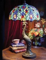 Victorian Trading NEW Peacock Lamp Stained Glass Shade 73A $292.50