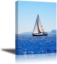 Canvas Wall Art for Bedroom PIY Blue Sea Sailboat Picture Modern Prints Decor $26.60
