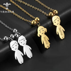 Custom Kids Name Date Beads Necklace Cute Boy Girl Pendant Children#x27;s Day Gift $6.99