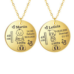 Custom Kids Name Necklace Commemorative Baby Birth Information Stainless Steel $6.99
