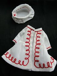 pique dress for small antique Antique French fashion German doll $86.00