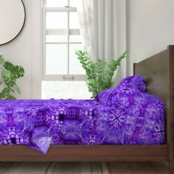 Lights Chandelier Purple Crystal 100% Cotton Sateen Sheet Set by Roostery $184.00