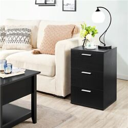 Bedroom Nightstands with 3 Storage Drawers Living Room End Side Sofa Tables $63.99