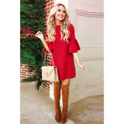 Moth Anthropologie Chester Sweater Knit Dress Red Mini Trumpet Sleeve Holidays $34.00