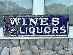 Single Sided Porcelain Sign Wines amp; Liquors circa 1901 Federal Sign System $2200.00