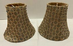 2 Sconce Chandelier SHADES Clip on Sage Bronze Geometric Black BEADS Gold Lined $25.95