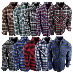 Flannel Plaid Shirt Mens Western Button Pockets New Cool Colors Long Sleeve $18.95