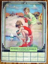 1931 WESTERN AND SOUTHERN LIFE INSURANCE COMPANY CALENDAR 2 CUTE KIDS AT BEACH $5.60