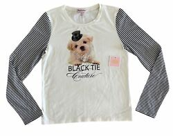 NWT Juicy Couture Black Tie Graphic Jeweled Long Sleeve Tee Dog Girls XL $62 $29.99