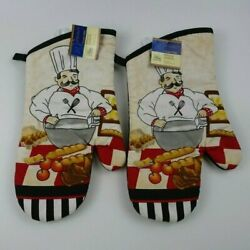 NWT 2 PC Chef Baker Oven Mitts Home Collection Bistro Kitchen Theme $12.55