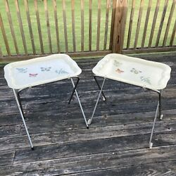 VINTAGE FIBERGLASS TV TRAY SET FERNS AND BUTTERFLIES 1 Tray Is Wheeled BUTTERFLY $95.00