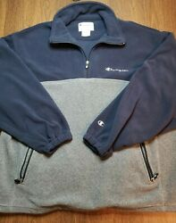 Champion Two Tone Fleece Spell Out Mens Jacket XL Quarter Zip Pullover Blue Gray $29.99