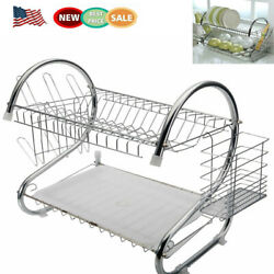 Large Capacity Dish Rack 2 Tier Drainer Drying Kitchen Storage Stainless Steel $25.56
