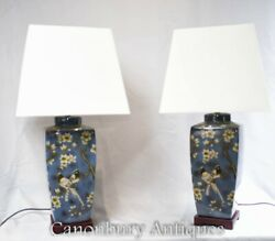 Pair Chinese Porcelain Urns Table Lamps Lighting $850.00