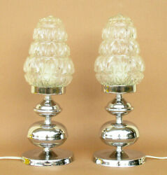 VINTAGE CHROMED BRASS PAIR OF TABLE LAMPS. LIGHTING. HOME DECOR. SPACES DECOR $210.00