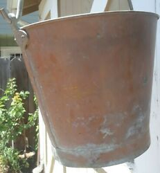 Antique vtg footed COPPER BUCKET brass handle rivets bail holders steampunk $49.00