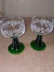 Roemer Green Beehive Wine Stem Clear 4oz Glass Bowl w Etched Grapes $12.00