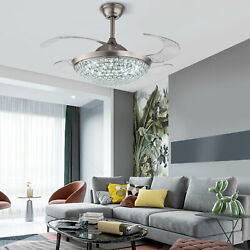 42#x27;#x27; Modern Crystal Invisible Ceiling Fan Light LED Chandelier Lamp with Remote $128.25