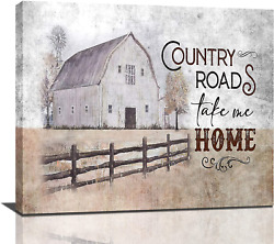 Farmhouse Rustic Wall Decor Hand Painted Barn Canvas Wall Art Painting Pictures $48.31
