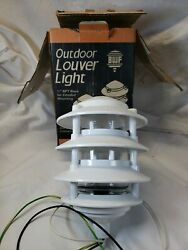 NOS BWF Walkway Landscape Commercial White Metal Louvered Light