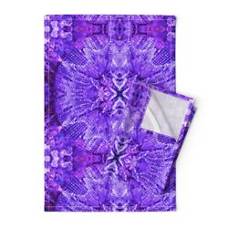 Lights Chandelier Purple Crystal Linen Cotton Tea Towels by Roostery Set of 2 $39.00