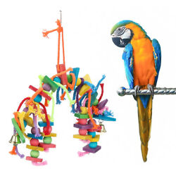 Bird Toy for Parrot Parakeets Conures Cockatiels Cage Chew Wooden Fun Play Toy $8.99
