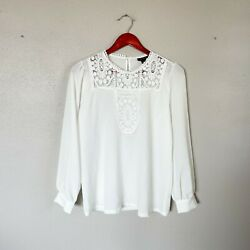 Halogen Size S Small White Long Sleeve Lace Front Blouse Women#x27;s $15.19