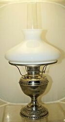 Antique 1890s ORNATE Bradley Hubbard Oil Lamp With Milk Glass Shade $100.00