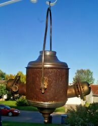 Antique 1890s 1920s The ANGLE Lamp Co NY Hanging Oil lamp Parts or Repair $65.00