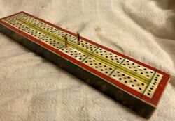 Very Good Antique Vintage Decorated Colorful Cribbage Board $85.00