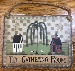 The Gathering Room Rustic Sign Plaster 8x6 Country Decor Barn Sheep $19.99