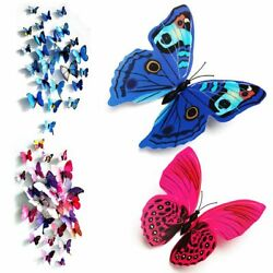 12 24 Pack 3D Butterfly Wall Stickers Removable Decals Home Room Decor Ornament $5.79