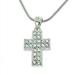 Cross Pendant Made With Swarovski Crystal Jesus New Necklace Gift $37.00