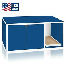 Cat Litter Box Enclosed Eco Stackable Modern House Furniture Scratch Pad Blue $97.22