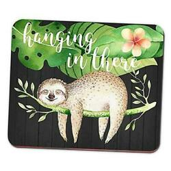 Funny Sloth Mouse Pad Hanging in There Floral Watercolor Quote Mousepad Desk $10.67