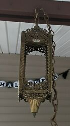 Pair Vintage Brass Gothic Cathedral Hanging Swag Light Lamp Heavy 4 Panel $140.00