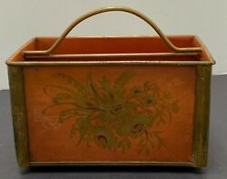 Vintage Tole Mail Bin Hand Painted Carrier Desk Button Feet Gold Flowers Handle $45.00