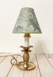 Vintage Solid Brass Pineapple AccentTable Lamp 10quot; Tall Candlestick Light $20.00