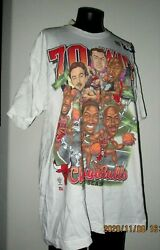 VINTAGE WHITE T SHIRT 70 GAMES WON CARICATURE OF CHCAGO BULLS TEAM OF 1995 $59.99