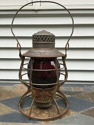 Antique N.Y N.H amp; Hartford Railroad Lantern Aamp;W quot;THE ADAMSquot; with Red Globe 1909 $179.99