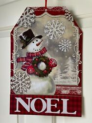 SNOWMAN NOEL Rustic Home TAG Sign Decor SHIMMERY SNOWMAN SNOWFLAKES WREATH $12.97